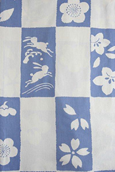 画像1: 市松絞り  ホワイト/薄藍 (1)