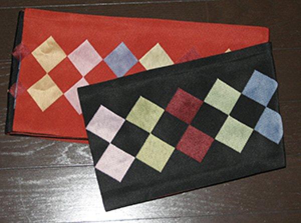 画像1: リバーシブル半幅帯[ダイヤ]|黒/朱 (1)